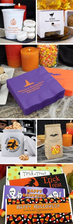 Personalized Halloween decorations and favors will make your Halloween wedding reception or party a spectacular, spooky success. Ghouls and goblins will be delighted when they discover spooky treats packaged in custom printed goodie bags. Halloween designed cups and napkins will give your treats that personal touch no other party will have. These Halloween party decorations and favors can be ordered at http://myweddingreceptionideas.com/halloween_party_favors.asp