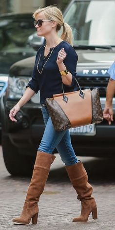 like this style, over the knee boots and that PURSE oh that PURSE!!