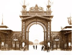 Main entrance to the exposition grounds of the world's fair in Vienna, 1873.