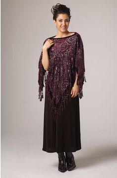 Wine Color Burnt out Beaded Pancho Top: Western Wear | Women Western Clothing | Western Apparel Clothing