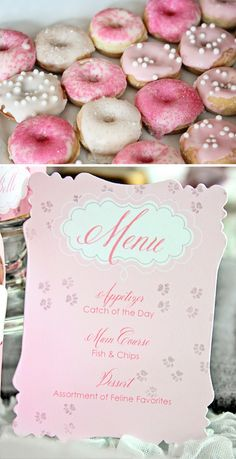 Kitty Cat/Aristocats Marie Party: menu with paw prints  mini donuts from cheerios