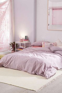 Slide View: 3: Washed Cotton Tassel Duvet Cover