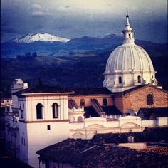 The Purace volcano in Colombia from the city of Popayan