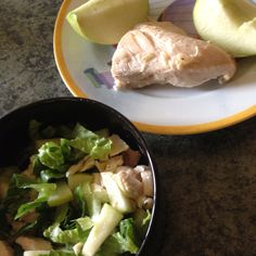 P2 meal: garlic roasted chicken, granny smith apple, and a salad (with a little chicken and apple from meal to liven it up)!   Www.HCGdietMOM.com