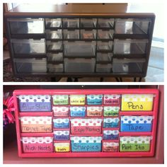 Before & After. Made a teacher toolbox for my classroom desk. Yay me!