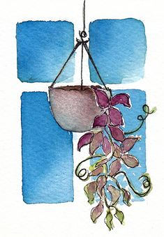 ACEO nº94 Climbing plant. Original watercolor by Sonia a.
