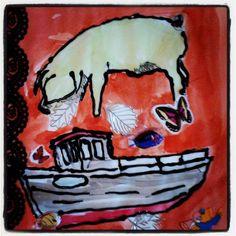 Creadienstag #126 : Collage Schwein im Boot