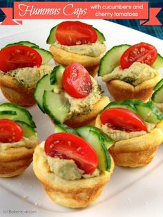Quick and Easy Hummus Cup Appetizers by Bakerette.com #appetizers #recipes