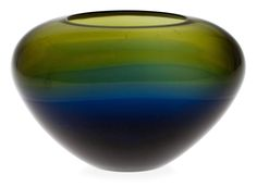 ** Timo Sarpaneva 1926-2006 A GLASS SCULPTURE. Triangle of Silence. Steam-blown, flared blue and green glass. Iittala, 1956. Width 15,5 cm.