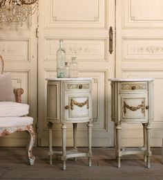Vintage Shabby French Louis XVI Nightstands Cane