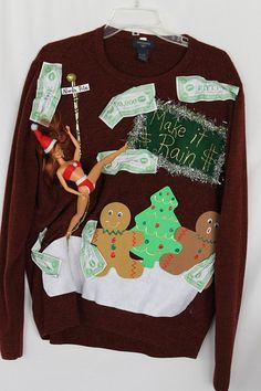 Ugly Naughty Christmas Sweater Stripper by DebsTackySweaters