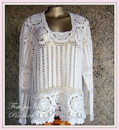 crochet awesome lacy long sleeve top pullover sq. neck