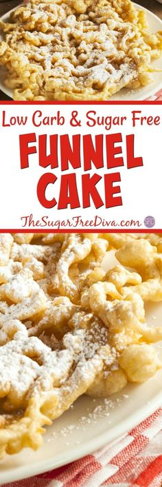 Sugar Free Baked Funnel Cakes- Yum- this funnel cake recipe looks so good and an easy dessert or treat to enjoy. Sugar Free Deserts, Sugar Free Treats, Sugar Free Recipes, Diabetic Desserts, Diabetic Recipes, Low Carb Recipes, Cooking Recipes, Diabetic Foods, Splenda Recipes