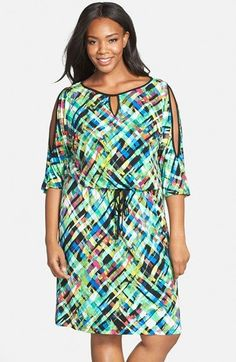 London Times Print Cold Shoulder Blouson Dress (Plus Size) available at #Nordstrom
