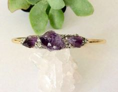Raw Amethyst Cuff Bracelet/ Christmas Gift For Her by NaturalGlam