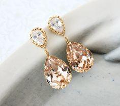 Sandra  Swarovski Crystal Teardrop Earrings Gold by GlitzAndLove