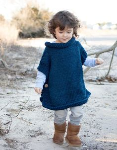 Free Knitting Pattern for Easy Kid's Poncho - Knit in 2 pieces and buttoned up s. Free Knitting Pattern for Easy Kid's Poncho - Knit in 2 pieces and buttoned up sides with a rolled neck created by picki. Free Knit Poncho Pattern, Poncho Knitting Patterns, Knitted Poncho, Knit Patterns, Knitting Stitches, Free Pattern, Toddler Knitting Patterns Free, Children's Poncho, Cardigan