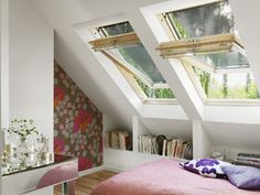 A VELUX centre pivot roof window is easy to operate, even with furniture below it. Read more about the benefits of our centre-pivot roof windows here. House Interior, Velux, Attic Rooms, Home Remodeling, Roof Window, Home, Home Bedroom, Home Decor, Room
