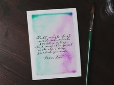Letter Lovers vierneuntel: Anleitung Zitat mit Aquarell Hintergrund - Zitat Peter Fox