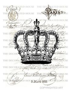 Vintage Crown Art Print French Pairs. 11 x 14 inches. Handmade by The Decorated House. $19.00, via Etsy.