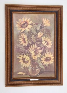 Rare Retired Home Interiors Embossed Picture Framed Sunflowers By J. Ritter