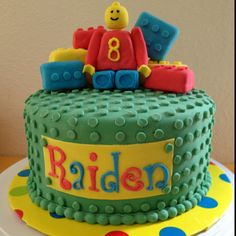 """Trying to do my 1st Pin . . . A Lego cake I did for a friend's son.  Placed each individual """"dot"""" on by hand, one by one :)!"""
