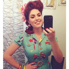 The beautiful Doris Mayday in the Sweetie Dress in Turquoise Birds!!!
