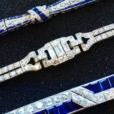 Looking at some really good Art Deco bracelets. All are CIRCA 1930. Two of them are sapphire and diamond. One is diamonds throughout. All are exceptional.