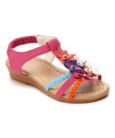 Ositos Shoes Fuchsia Rainbow Flower Embellished Sandal | zulily