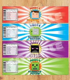"""BOTTLE WRAPPERS $5  This product contains 4 custom designs that are Minecraft-Inspired as water bottle labels, 8"""" x 2"""" inches in size (pictured above). The product will be supplied in 300dpi resolution to ensure a crisp, perfectly detailed print.    When you purchase this digital file, you will receive a high resolution PDF of these labels on an 8.5x11 template (fits 4 per page)"""