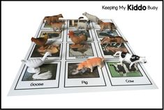 Items similar to Farm Animals - Montessori Matching Cards - Language Development - Nomenclature - Preschool on Etsy Quiet Time Activities, Toddler Learning Activities, Preschool Games, Free Activities, Toddler Preschool, Kids Learning, Preschool Ideas, Montessori Toddler, Preschool Crafts