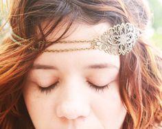 Chain Headpiece Headband  Bohemian Hipster Boho Hippie Bronze Floral Long Centerpiece Bridal Statement Jewelry. $13.00, via Etsy.