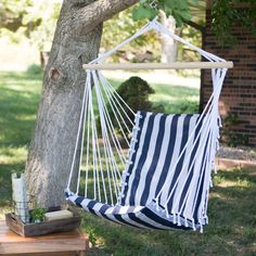 The Ultimate Padded Mesh Hanging Chair - Navy Stripes | www