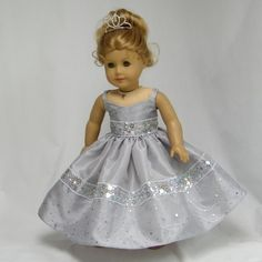 Silver Ball Gown for 18 inch Doll by juliascreations on Etsy