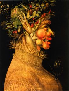 Arcimboldo 1563 Summer I like the side colours of the composition and the way that it is emphasized by the black background, as well as the way that the figure is made of seasonal produce and uses them to make the face.