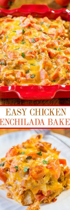Easy Chicken Enchilada Bake - All the flavors of your favorite enchiladas, minus the work!! Easy, ready in 30 minutes, and you can prep it in advance to save time on busy weeknights or before a big event!!
