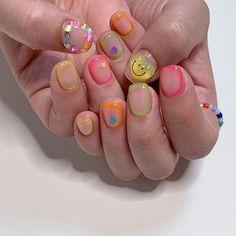 Asian Nail Art, Asian Nails, Korean Nail Art, Coco Nails, My Nails, Korea Nail, Kawaii Nails, Nails For Kids, Japanese Nail Art