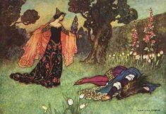 This illustration came from:    Craik, Dinah Maria Mulock. The Fairy Book. Warwick Goble, illustrator. London: Macmillan & Co., 1913.