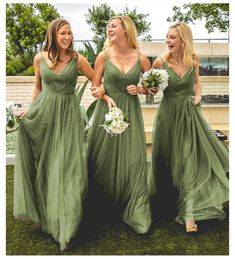 Olive Green Bridesmaid Dresses, Casual Bridesmaid Dresses, Tulle Bridesmaid Dress, Bridal Party Dresses, Wedding Bridesmaids, Wedding Dresses, Prom Dresses, Tulle Wedding, Dresser