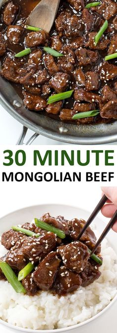 Amazing 30 Minute Mongolian Beef. Tender flank steak fried and tossed in a thick Asian inspired sauce. Way better than takeout! | chefsavvy.com #recipe #beef #Mongolian #beef #dinner
