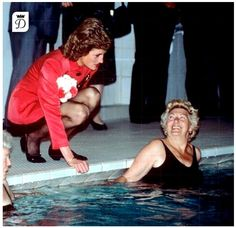May 30, 1989 Princess Diana talks to swimmers after opening the Sovereign Leisure Centre in Eastbourne, West Sussex