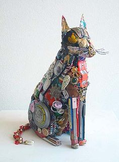cat, found object assemblage by leo sewell