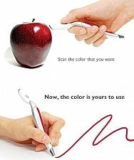 "Color Picker Pen: ""Concept design by Jin Sun Park, this pen allows you to scan the color of any real-life object and then draw in that color right away.""  #Pen #Color_Changing_Pen #Jin_Sun_Park"