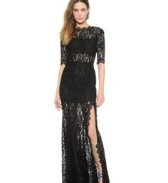 Veronica Black Lace Maxi Dress