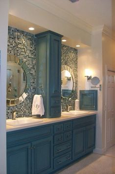 Love This Cabinet Color And The Back Splash And The Cabinet Layout. I Like  The Idea Of A Back Splash Up The Wall Behind The Mirror And Can Lights Over  The ...