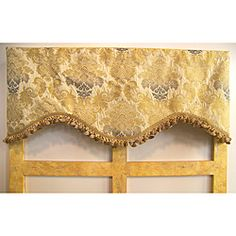 @Overstock - An elegant gold and black damask pattern on an ivory background and framed by gold scrollwork is featured on this window valence. Finished with a luxurious multi-colored tassel trim along the gentle shape this valence is perfect for any room.http://www.overstock.com/Home-Garden/Gold-Floral-Damask-50-inch-Valance/5967534/product.html?CID=214117 $56.99