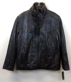 Just $399 !! Andrew Marc Men's NEW/NWT Luster MEDIUM 100% Soft Leather Jacket Real Fur Lined  #AndrewMarc #Jacket