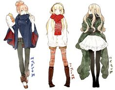 Manga fashion sketches. Character reference