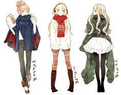 Manga fashion sketches. Character reference