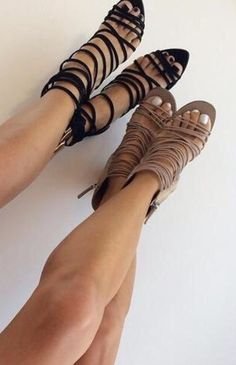 Gladiator cut out straps peep toes sandals